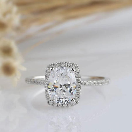 2.1CT Oval Moissanite Ring White Gold Ring