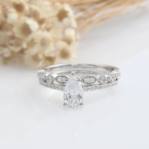 0.94CT Pear Cut Engagement Ring  Anniversary Gifts White Gold Rings
