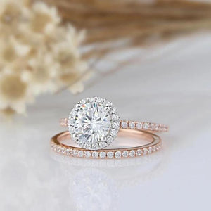 1CT Round Moisssanite Ring Two Tone Gold Wedding Ring