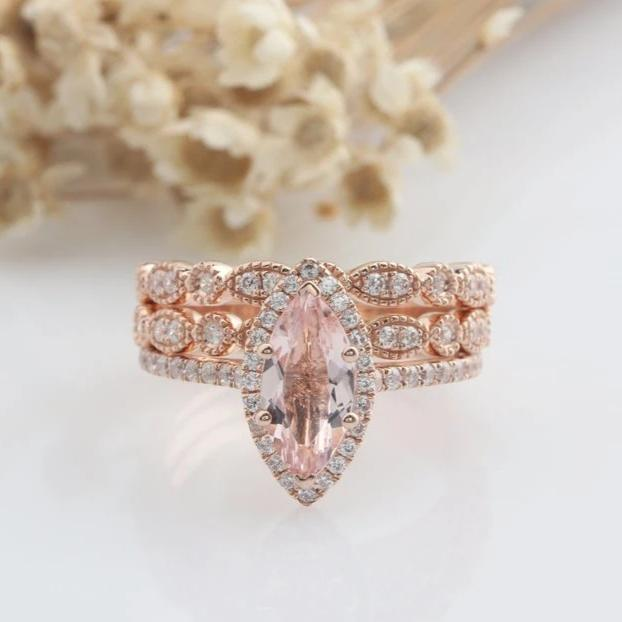 1.17CT Marquise Cut Natural Morganite Wedding Sets Anniversary Ring Rose Gold Ring