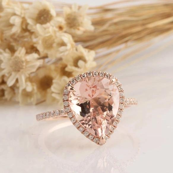 3.3CT Pear Cut Morgnite Center Anniversary Ring Rose Gold Ring