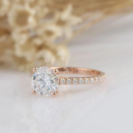1.25CT Round Moissanite Ring Rose Gold Ring