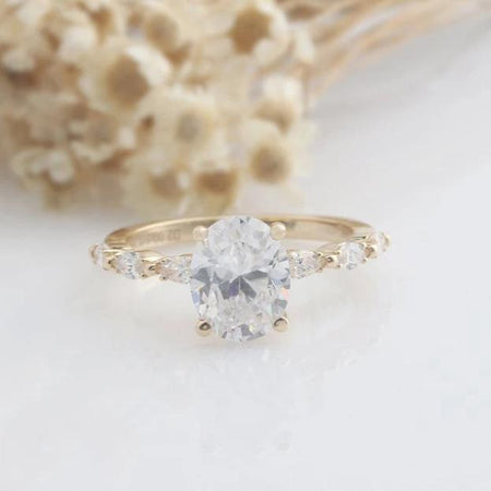 2CT Oval Cut Moissanite Engagement Ring Yellow gold Ring For Women