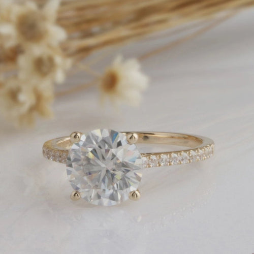 2.5CT Round Moissanite Ring Engagement Ring Yellow Gold Ring