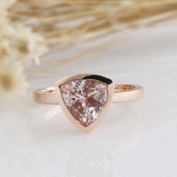 1.70CT Trillion Cut Natural Morganite Engagement Ring Rose Gold Ring