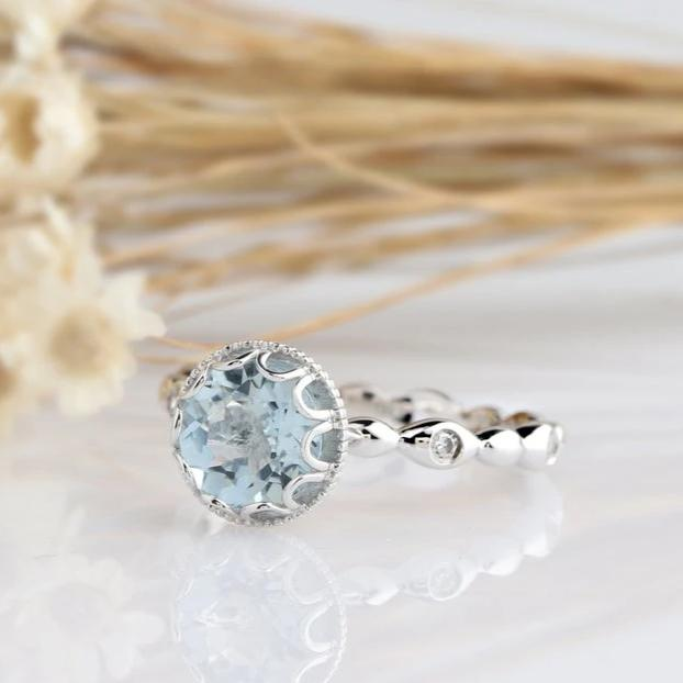 1.1CT Round Natural Aquamarine Center Ring Engagement Ring Vintage Bezel White Gold Ring