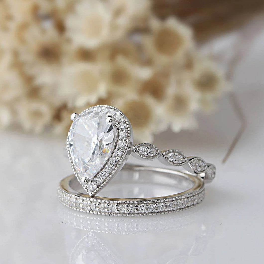 1.75CT Pear Cut Moissanite Halo Ring White Gold Ring For Women
