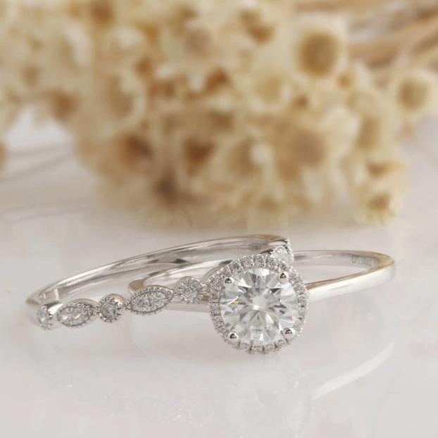 1CT Round Moissanite Bridal Set White Gold Ring 2 PCS Rings