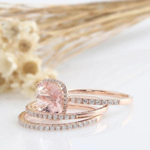 2.20CT Cushion Natural Morganite Engagement Ring Rose Gold Ring 2PCS Ring Sets