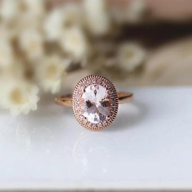 1.6CT Oval Natural Morganite Engagement Ring Anniversary Ring Rose Gold Ring For Women
