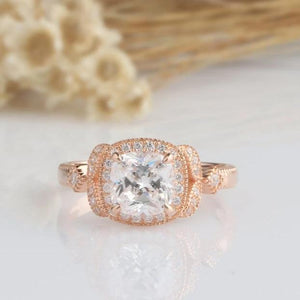 1.70CT Cushion Moissanite Engagement Ring Rose Gold Ring