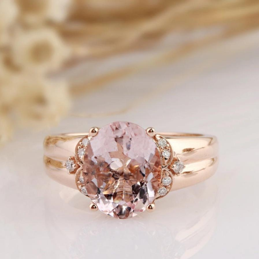 3CT Oval Natural Morganite Center Engagement Ring Anniversary Ring Yellow Gold Ring