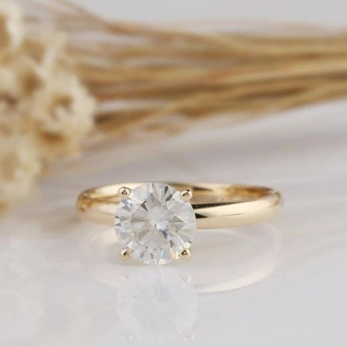2CT Round Moissanite Ring Engagement Ring Yellow Gold Ring