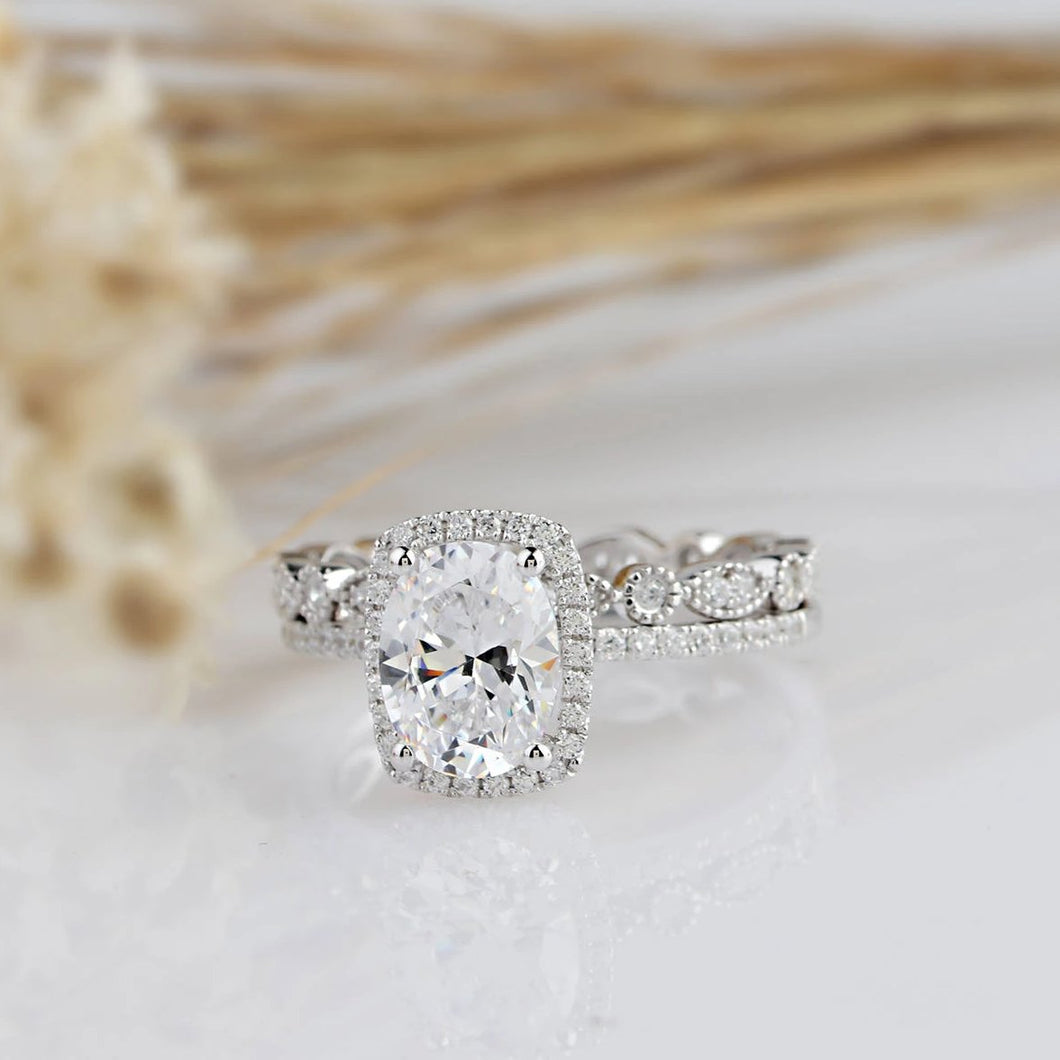 2.1CT Oval Mossianite Ring Engagement Ring White Gold Ring