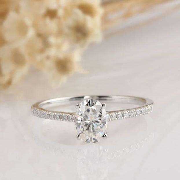 1CT Oval Wedding Ring White Gold Ring Moissanite Engagement Ring