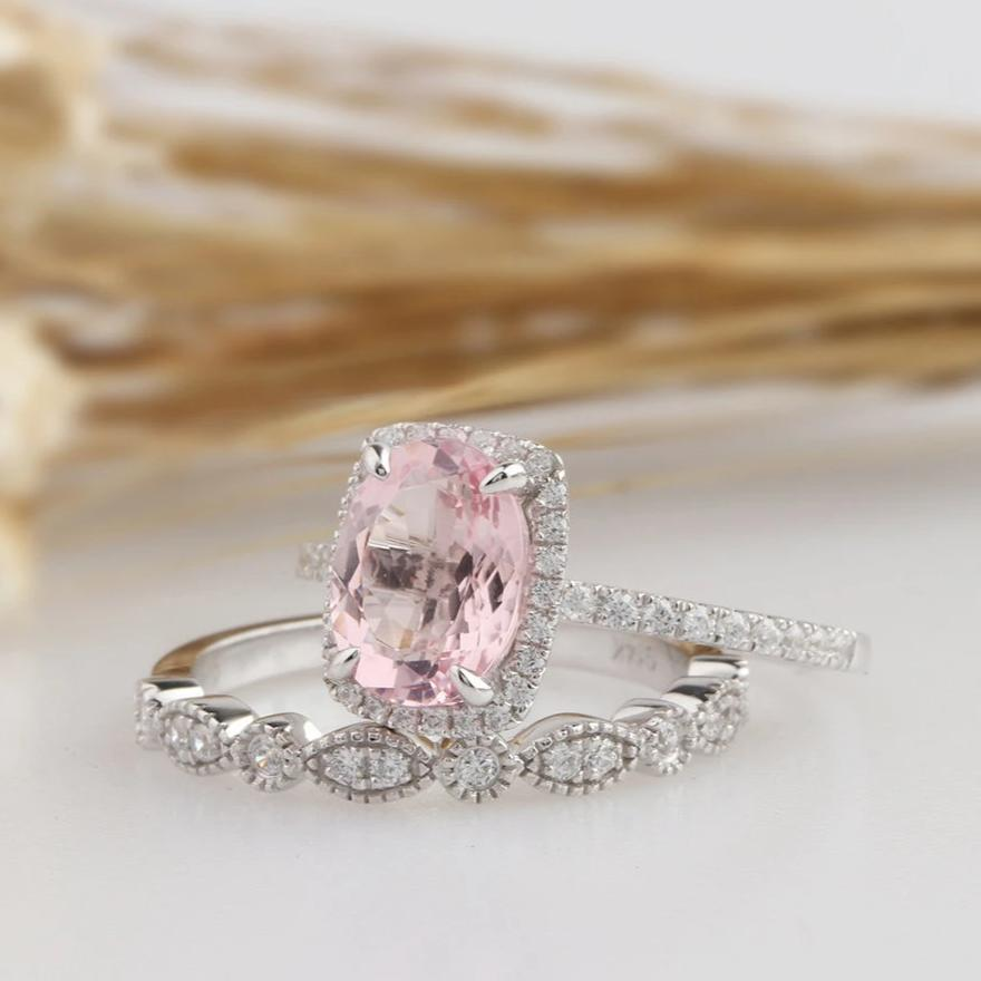 1.48CT Oval Natural Light Pink Morganite Wedding Sets White Gold Ring Sets