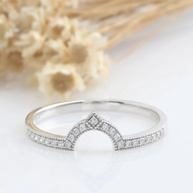14K Solid Gold Rings Matching Band Promise Ring White gold Ring