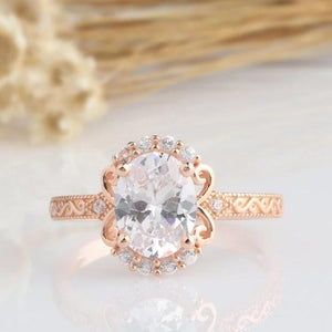 Oval Cut 2CT Moissanite Engagement Ring Vintage Anniversary Ring