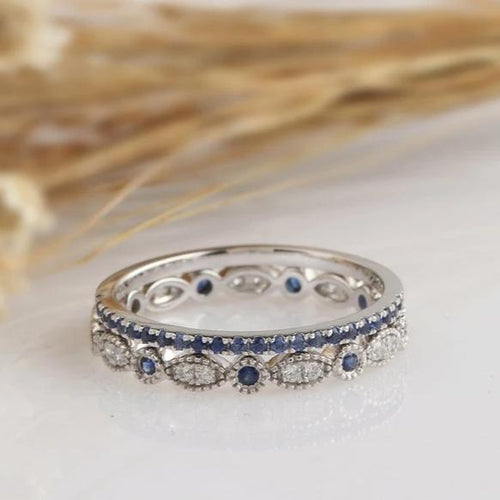 14K Solid Gold Rings Created Blue Sapphire Matching Band 2PCS Rings