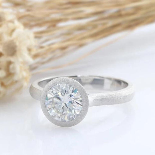 1.5CT Round Moissanite Ring Unpolished White Gold Ring Engagement Ring
