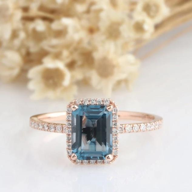 6x8mm Emerald Cut London Blue Topaz Promise Ring Rose Gold Ring Sets