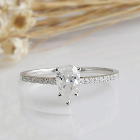 0.94CT Pear Moissanite Anniversary Ring White gold