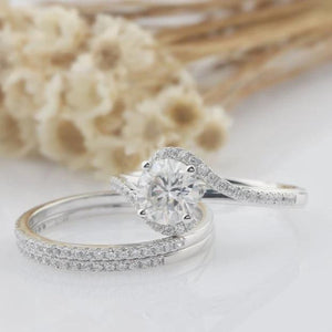 1CT Round Cut Moissanite Bridal Set White Gold Ring 3PCS Ring Sets