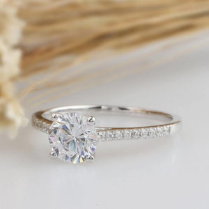 1CT Round Cut Moissanite Center Stone Solid 14k Gold Engagement Ring