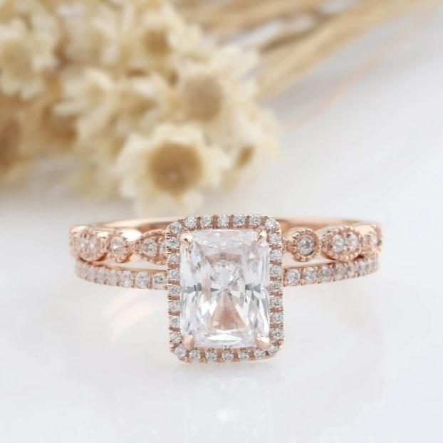 1.9CT Rectangle Cut Anniversary Ring Rose Gold Rings Moissanite Rings
