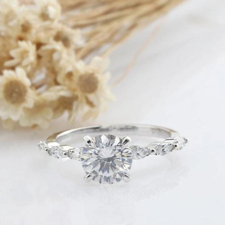 1.5CT Round Moissanite Engagement Ring White gold Ring For Women