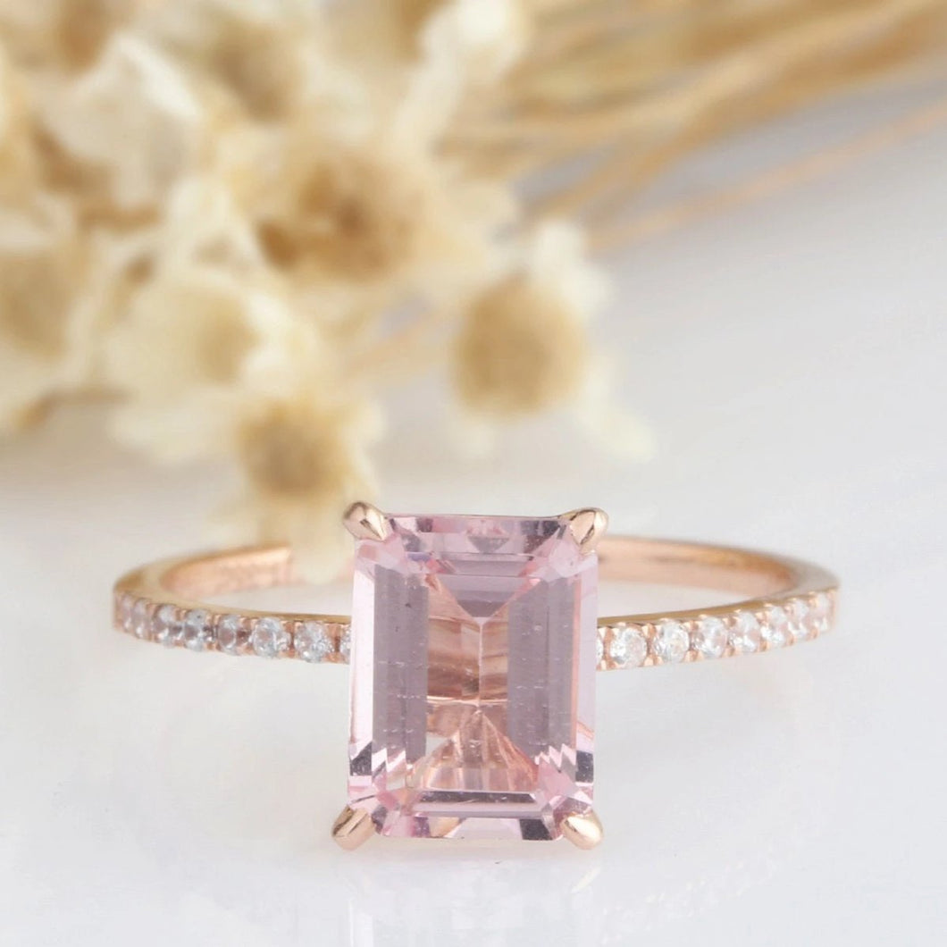 6X8mm Emerald Cut Natural Morganite Bridal Sets Rose Gold Ring