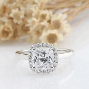2CT Cushion Moissanite Ring White Gold Ring for Women