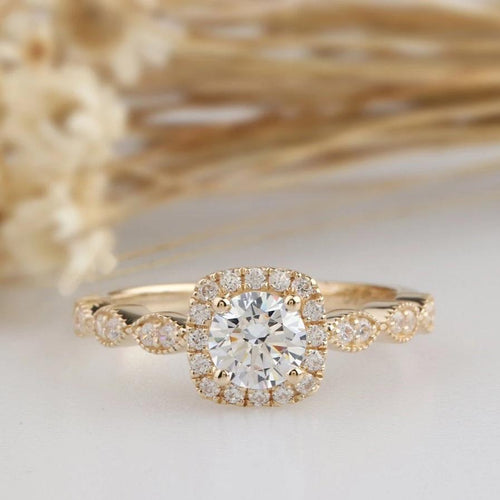 5mm Round Cut Moissanite ring Yellow gold Ring For Women