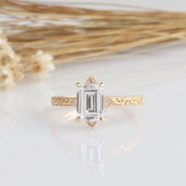 2CT Emerald Cut Moissanite Engagement Ring Yellow Gold Ring
