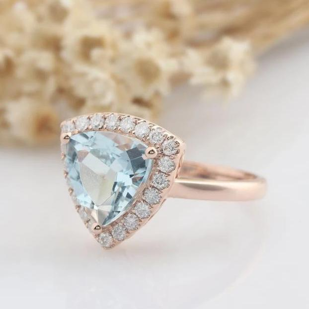 9x9mm Trillion Cut Natural Aquamarine Engagement Ring Anniversary Rings