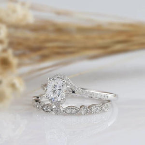 0.75CT Round Cut Moissanite Engagement Ring Vintage White Gold Ring 2PCS Rings