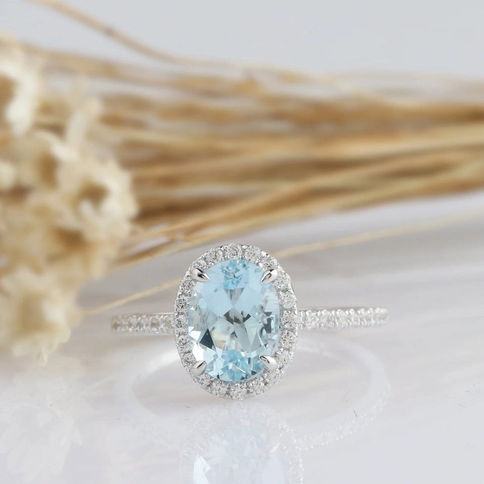 1.17CT Oval Natural Aquamarine Center Ring Promise Ring Halo Split Shank Ring