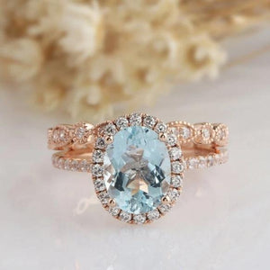 2.1CT Oval Natural Aquamarine Center Ring Halo Split Shank Ring