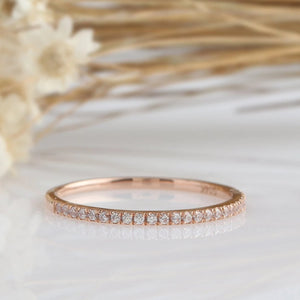 14K Solid Gold Rings Simulated Diamond Wedding Band Promise Ring