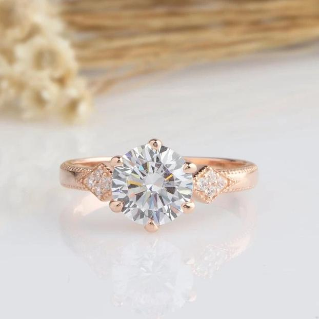 2CT Round Moissanite Engagement Ring Rose gold Ring For Women