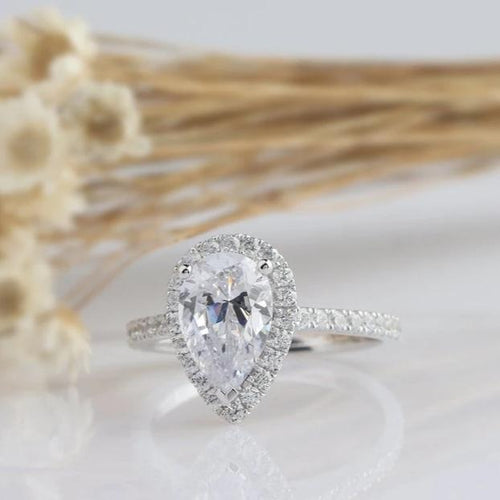 1.5CT Pear Cut Moissanite White Gold Ring Engagement Ring