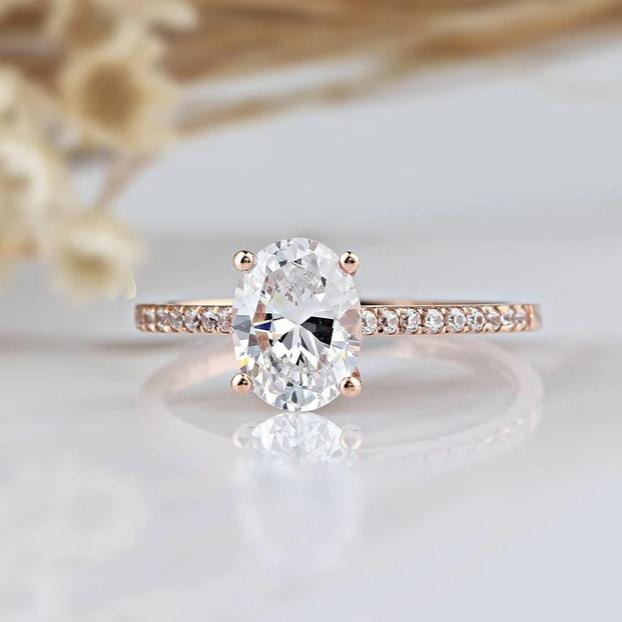 1.5CT Oval Cut Moissanite Rose Gold Ring Engagement Ring