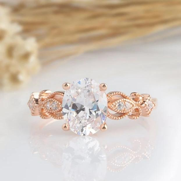 2CT Oval Moissanite Engagement Ring Rose Gold Ring