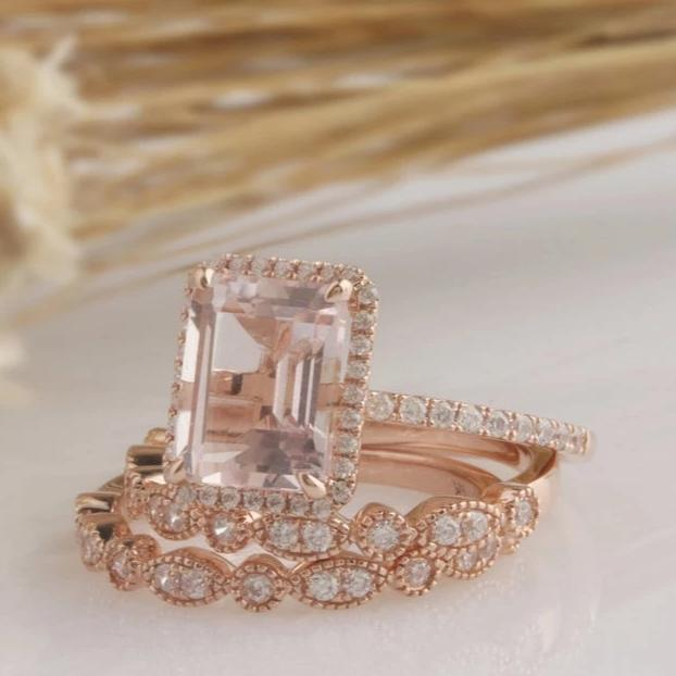 1.75CT Emerald Cut Natural Morganite Wedding Band Promise ring Rose gold ring