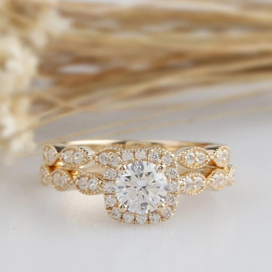 0.5CT Round Simulated Diamond Bridal Sets Yellow Gold Ring Sets