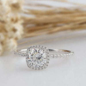 1.35CT Round Moissanite Engagement Ring Halo White Gold Ring