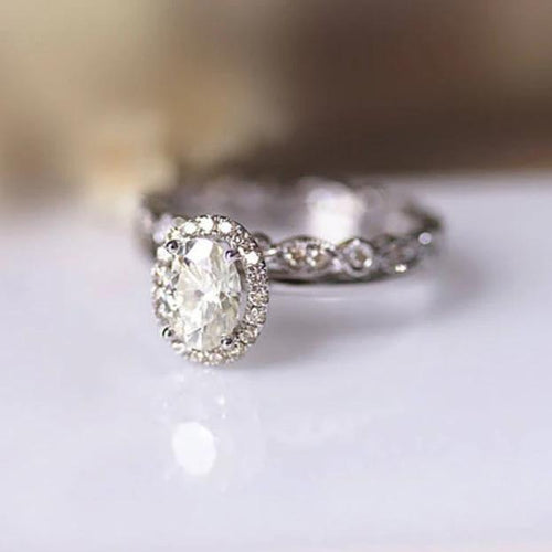1CT Oval Moissanite Ring Anniversary Ring White Gold Ring