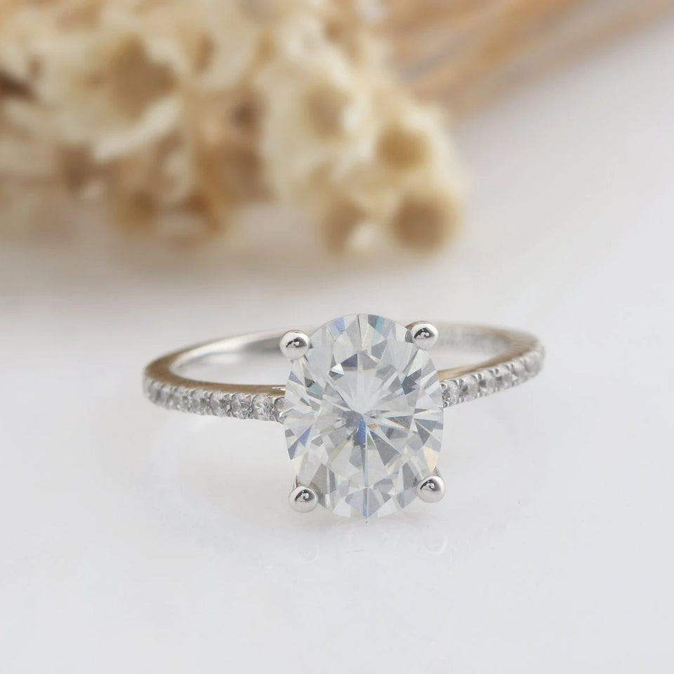 7x9MM Oval Cut Moissanite Engagement Ring Half Eternity Promise Ring
