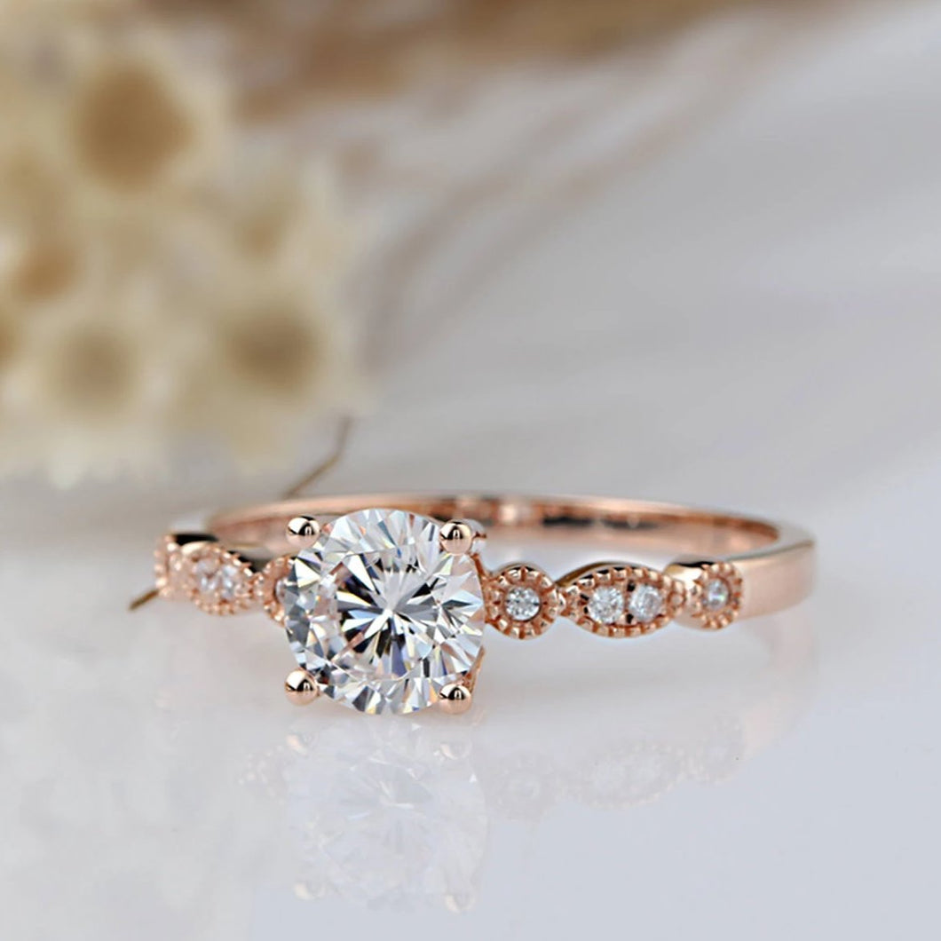 1CT Round Moissanite Ring For Women Engagement Rings