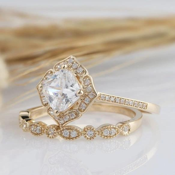 1.3CT Cushion Moissanite Promise ring Yellow gold ring 2PCS Rings